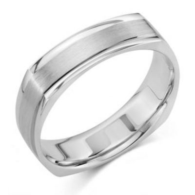 Brushed Square Shank Wedding Ring In 14K White Gold 6mm