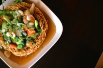 Double Pan Fried Noodles – Sauteed fresh mixed vegetables with brown sauce in a crispy egg noodle nest