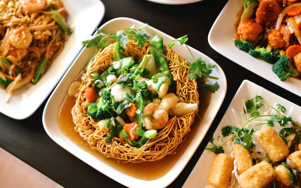 Left to Right: Pad Thai, Pan Fried Noodles, Crispy Tofu; Top Right: Orange Peel Shrimp